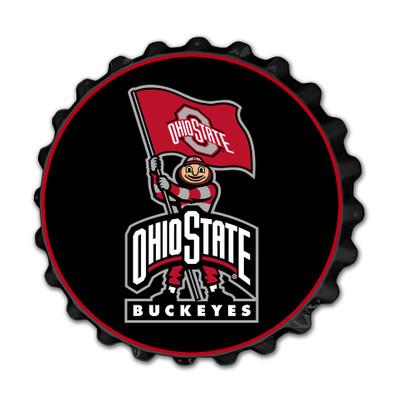 Ohio State Buckeyes Team Spirit Bottle Cap Wall Sign--Brutis on Black | Grimm Industries |OS-210-02