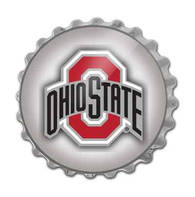 Ohio State Buckeyes Team Spirit Bottle Cap Wall Sign--Primary Logo Silver | Grimm Industries |OS-210-04