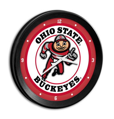 Ohio State Buckeyes 15 inch Team Spirit Ribbed Wall Clock--Brutus | Grimm Industries |OS-530-01