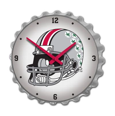 Ohio State Buckeyes Team Spirit Bottle Cap Wall Clock--Helmet on Silver | Grimm Industries |OS-540-03