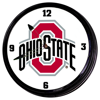 Ohio State Buckeyes 19 inch Illuminated LED Team Spirit Clock--Primary Logo | Grimm Industries |OS-550-01
