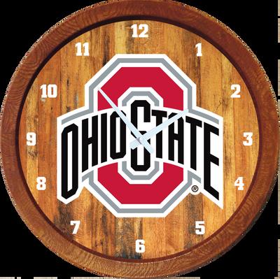 Ohio State Buckeyes 20 inch Barrel Team Logo Wall Clock--Primary Logo-Color | Grimm Industries |OS-560-01