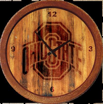 Ohio State Buckeyes 20 inch Barrel Team Logo Wall Clock--Primary Logo-Branded | Grimm Industries |OS-560-02