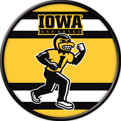 Iowa Hawkeyes 17 inch Team Disc Wall Sign-Herky Stripes | Grimm Industries |IA-230-04