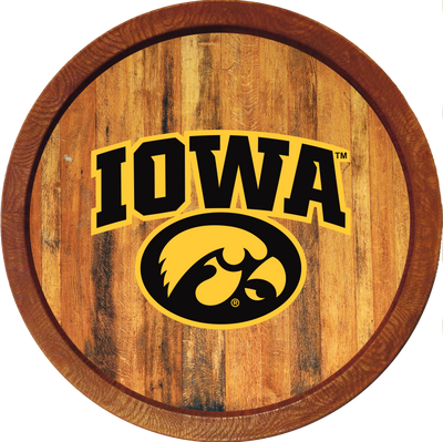 Iowa Hawkeyes 20 inch Barrel Team Logo Wall Sign-Tigerhawk-Color | Grimm Industries |IA-240-02
