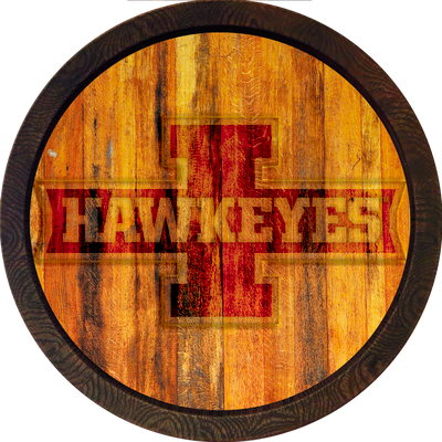 Iowa Hawkeyes 20 inch Barrel Team Logo Wall Sign- Hawkeye Block I- Color | Grimm Industries |IA-240-03