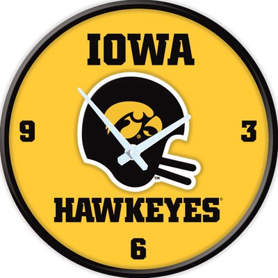 Iowa Hawkeyes 17 inch Team Disc Wall Clock-Helmet Vintage | Grimm Industries |IA-510-03