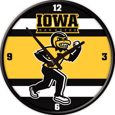 Iowa Hawkeyes 17 inch Team Disc Wall Clock-Herky Stripes | Grimm Industries |IA-510-04