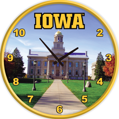 Iowa Hawkeyes 17 inch Team Disc Wall Clock-Old Capitol | Grimm Industries |IA-510-05