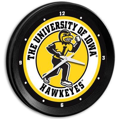 Iowa Hawkeyes 15 inch Team Spirit Ribbed Wall Clock-Herky | Grimm Industries |IA-530-01