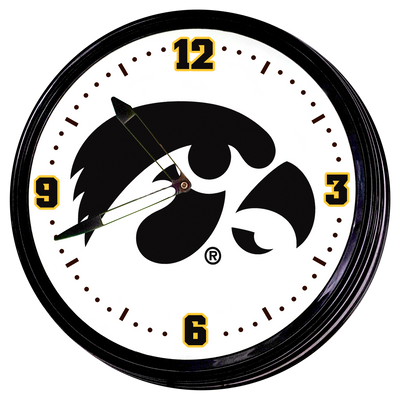 Iowa Hawkeyes 19 inch Illuminated Team Spirit Clock-Tigerhawk | Grimm Industries |IA-550-01