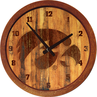 Iowa Hawkeyes 20 inch Barrel Team Logo Wall Clock-Tigerhawk-Branded | Grimm Industries |IA-560-01