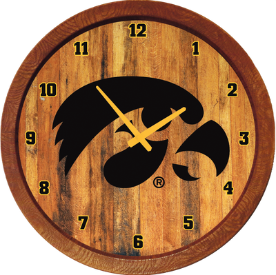Iowa Hawkeyes 20 inch Barrel Team Logo Wall Clock-Tigerhawk-Color | Grimm Industries |IA-560-02