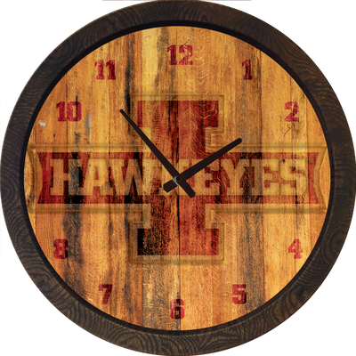 Iowa Hawkeyes 20 inch Barrel Team Logo Wall Clock-  Block I-Color | Grimm Industries |IA-560-03
