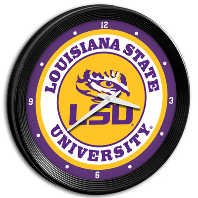 LSU Tigers 15 inch Team Spirit Ribbed Wall Clock-Primary Logo | Grimm Industries |LS-530-01