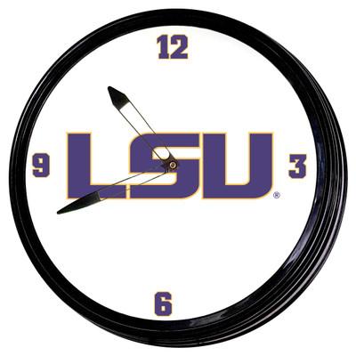 LSU Tigers 19 inch Illuminated Team Spirit Clock-Primary Logo | Grimm Industries |LS-550-01