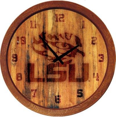 LSU Tigers 20 inch Barrel Team Logo Wall Clock-Primary Logo-Branded | Grimm Industries |LS-560-01