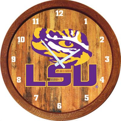 LSU Tigers 20 inch Barrel Team Logo Wall Clock-Primary Logo-Color | Grimm Industries |LS-560-02