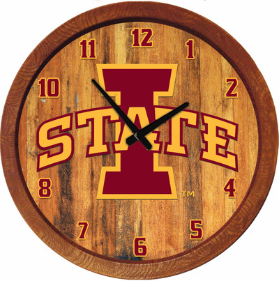 Iowa State Cyclones 20 inch Barrel Team Logo Wall Clock-Primary Logo-Color | Grimm Industries |IS-560-01