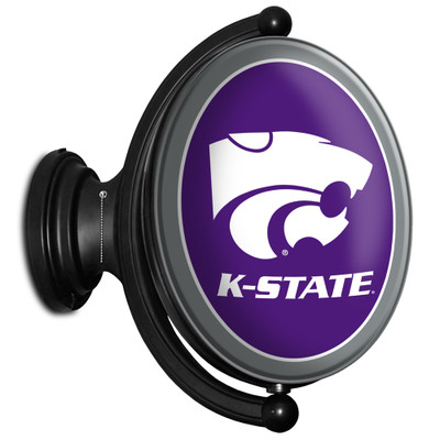 Kansas State Wildcats Rotating Illuminated LED Team Sprit Wall Sign-Oval---Primary Logo on Purple | Grimm Industries |KS-125-01