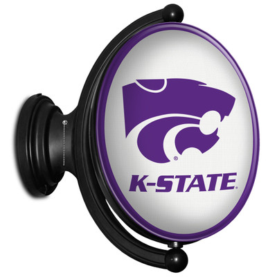 Kansas State Wildcats Rotating Illuminated LED Team Sprit Wall Sign-Oval---Primary Logo on White | Grimm Industries |KS-125-02