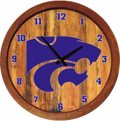 Kansas State Wildcats 20 inch Barrel Team Logo Wall Clock--Primary Logo-Color | Grimm Industries |KS-560-01