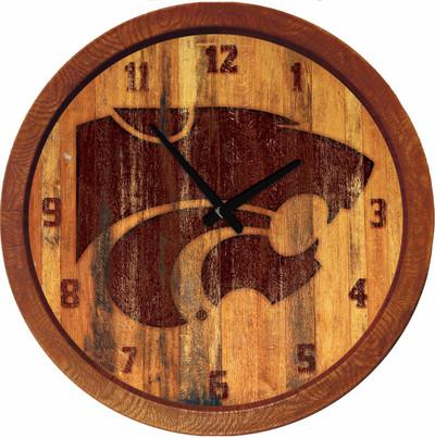 Kansas State Wildcats 20 inch Barrel Team Logo Wall Clock--Primary Logo-Branded | Grimm Industries |KS-560-02