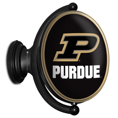Purdue Boilermakers Rotating Illuminated LED Team Spirit Wall Sign-Oval---Primary Logo on Black | Grimm Industries |PU-125-01