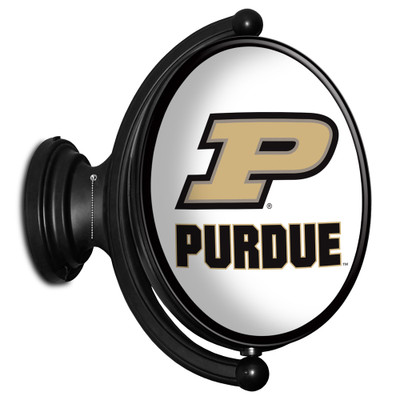 Purdue Boilermakers Rotating Illuminated LED Team Spirit Wall Sign-Oval---Primary Logo on White | Grimm Industries |PU-125-02