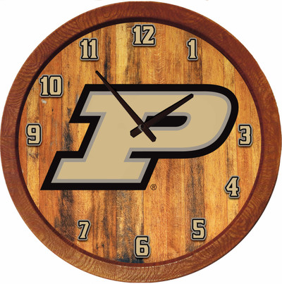 Purdue Boilermakers 20 inch Barrel Team Logo Wall Clock--Primary Logo-Color | Grimm Industries |PU-560-01