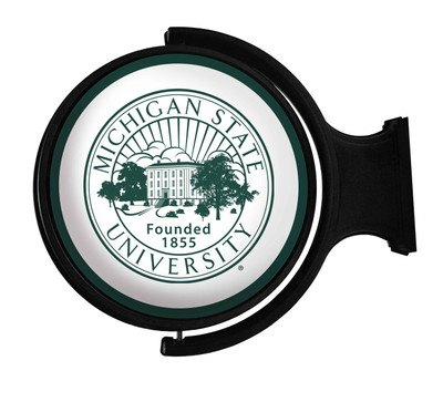 Michigan State Spartans Rotating Illuminated LED Team Spirit Wall Sign-Round---University Seal | Grimm Industries |MS-115-03