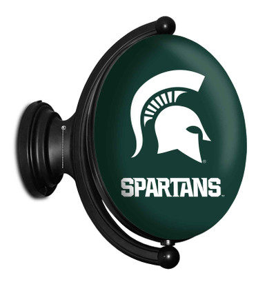 Michigan State Spartans Rotating Illuminated LED Team Spirit Wall Sign-Oval-- | Grimm Industries |MS-125-01