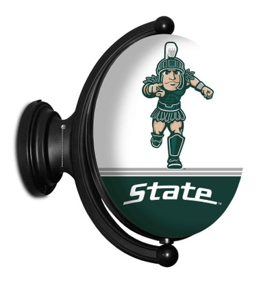 Michigan State Spartans Rotating Illuminated LED Team Spirit Wall Sign-Oval--Sparty | Grimm Industries |MS-125-02