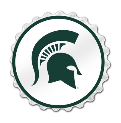Michigan State Spartans Team Spirit Bottle Cap Wall Sign--Primary Logo on White | Grimm Industries |MS-210-01