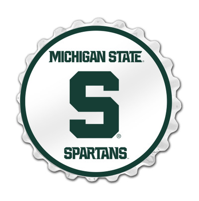Michigan State Spartans Team Spirit Bottle Cap Wall Sign--Primary Logo  on White | Grimm Industries |MS-210-02
