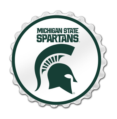 Michigan State Spartans Team Spirit Bottle Cap Wall Sign--Block S on White | Grimm Industries |MS-210-03