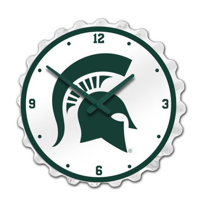 Michigan State Spartans Team Spirit Bottle Cap Wall Clock--Primary Logo On White | Grimm Industries |MS-540-01