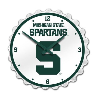 Michigan State Spartans Team Spirit Bottle Cap Wall Clock--Block S On White | Grimm Industries |MS-540-02