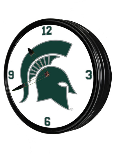 Michigan State Spartans 19 inch Illuminated LED Team Spirit Clock--Primary Logo | Grimm Industries |MS-550-01