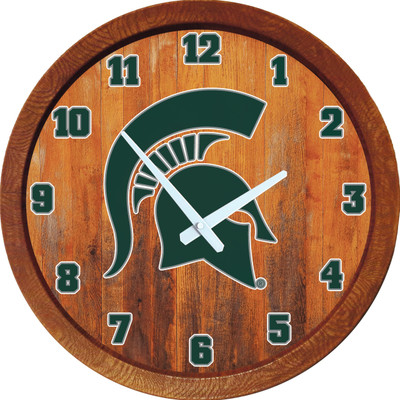 Michigan State Spartans 20 inch Barrel Team Logo Wall Clock--Primary Logo-Color | Grimm Industries |MS-560-01