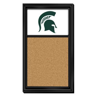 Michigan State Spartans Team Board Corkboard--Primary Logo-White | Grimm Industries |MS-640-02