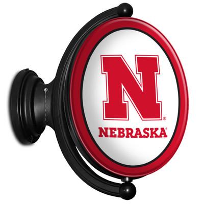 Nebraska Huskers Rotating Illuminated LED Team Spirit Wall Sign-Oval-Primary Logo | Grimm Industries |NB-125-01