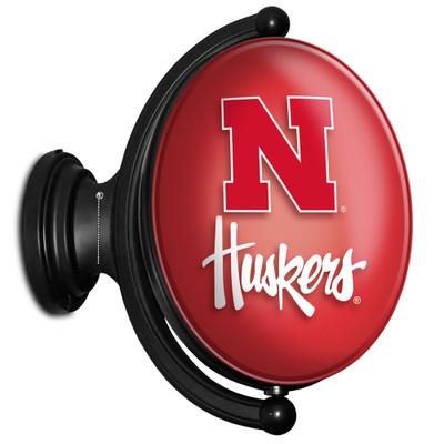 Nebraska Huskers Rotating Illuminated LED Team Spirit Wall Sign-Oval-Huskers | Grimm Industries |NB-125-02