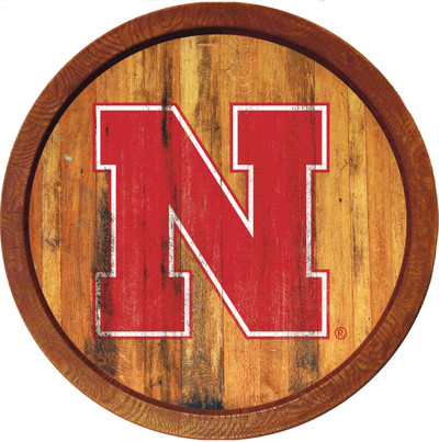 Nebraska Huskers 20 inch Barrel Team Logo Wall Sign-Primary Logo-Color Weathered | Grimm Industries |NB-240-03