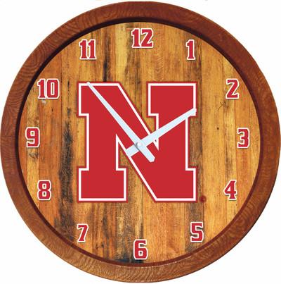 Nebraska Huskers 20 inch Barrel Team Logo Wall Clock-Primary Logo-Color | Grimm Industries |NB-560-01