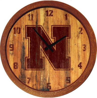 Nebraska Huskers 20 inch Barrel Team Logo Wall Clock-Primary Logo-Branded | Grimm Industries |NB-560-02