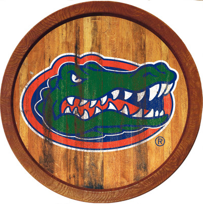 Florida Gators 20 inch Barrel Team Logo Wall Sign-Primary Logo-Color Weathered | Grimm Industries |UF-240-03