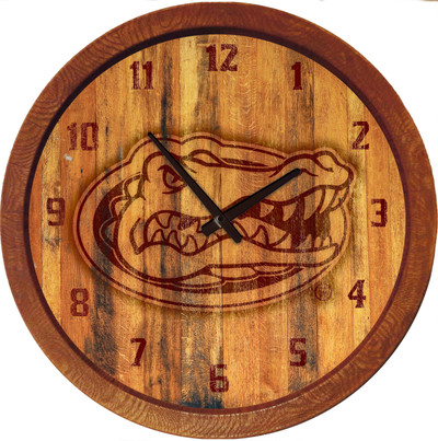 Florida Gators 20 inch Barrel Team Logo Wall Clock-Primary Logo-Branded | Grimm Industries |UF-560-02