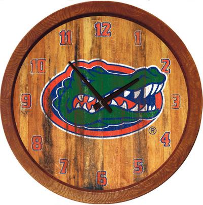 Florida Gators 20 inch Barrel Team Logo Wall Clock-Primary Logo-Color Weathered   Grimm Industries  UF-560-03