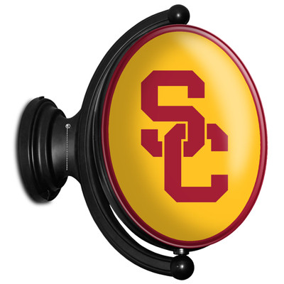 USC Trojans Rotating Illuminated LED Team Spirit Wall Sign-Oval-Interlocking SC | Grimm Industries |US-125-01